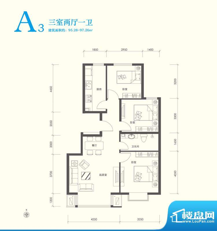 翠林漫步A3户型图 3室2厅1卫1厨面积:95.00平米