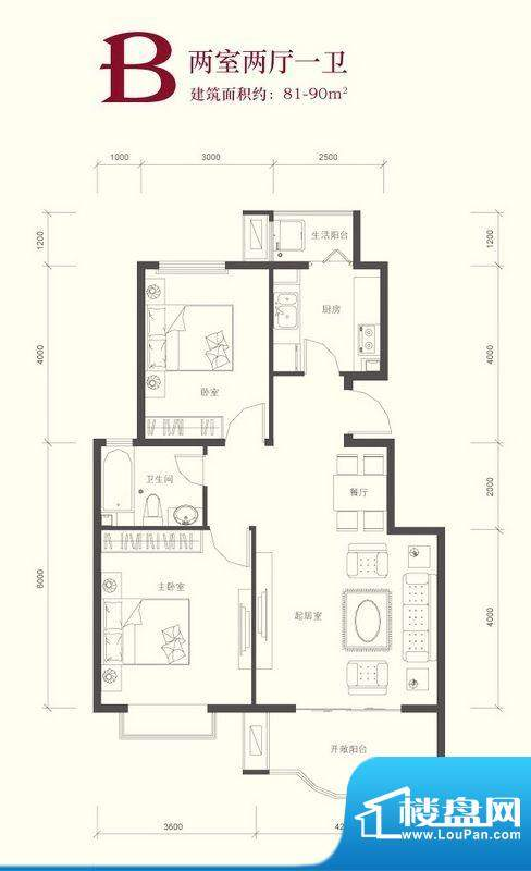 翠林漫步B户型 2室2厅1卫1厨面积:81.90平米