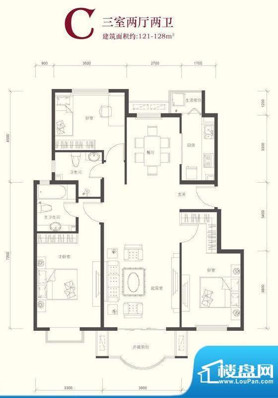 翠林漫步C户型 3室2厅2卫1厨面积:121.00平米
