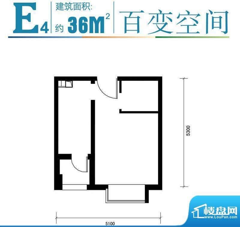 马可汇E4-01户型图 1厅1卫1厨面积:36.00平米