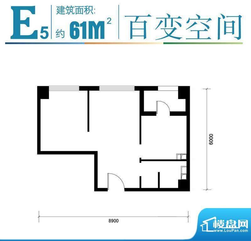 马可汇E5-01户型图 1厅1卫1厨面积:61.00平米