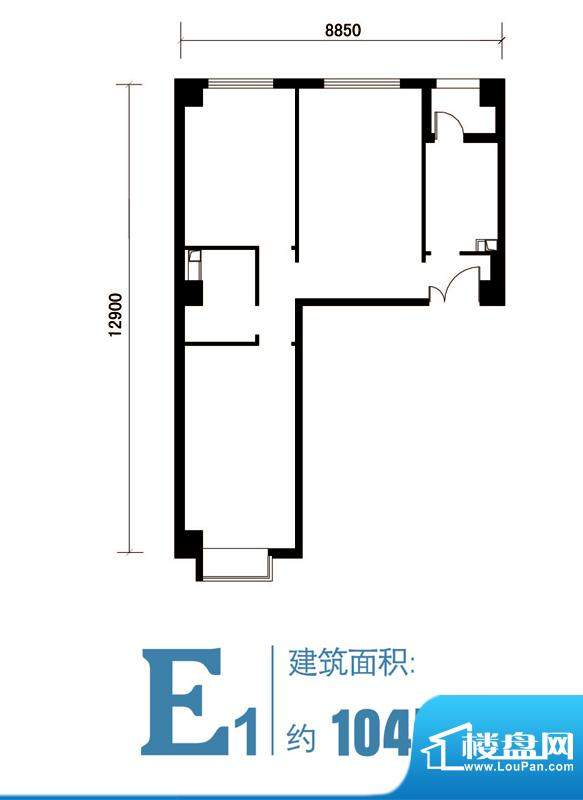 马可汇E1-cs2-01户型图 2室1厅面积:104.00平米