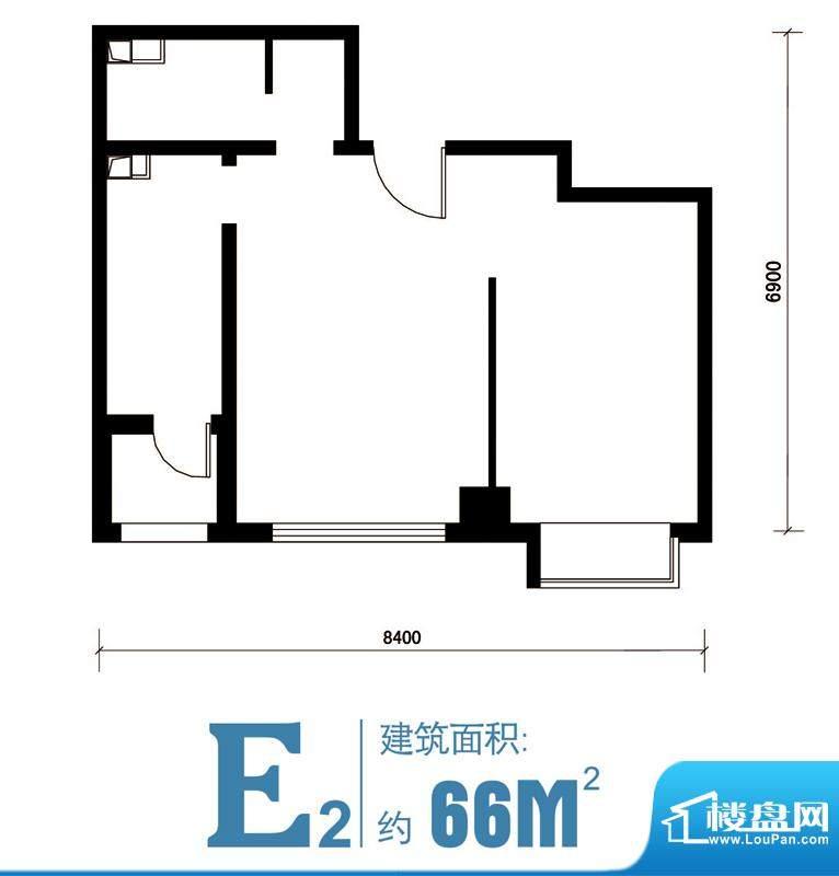 马可汇E2-cs2-01户型图 1室1厅面积:66.00平米