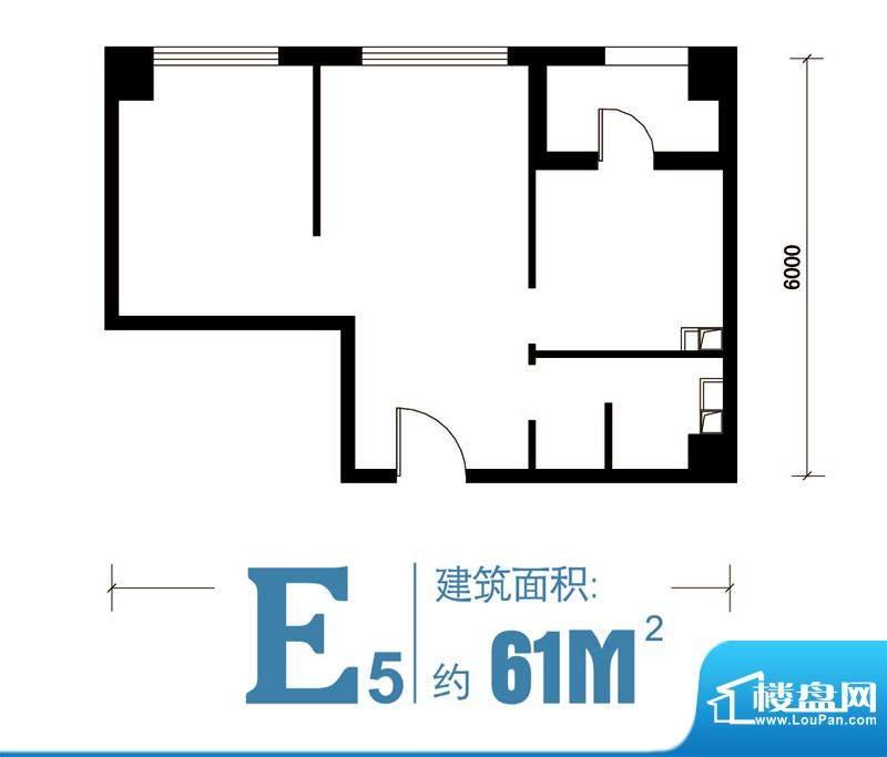 马可汇E5-cs2-01户型图 2室1厅面积:61.00平米