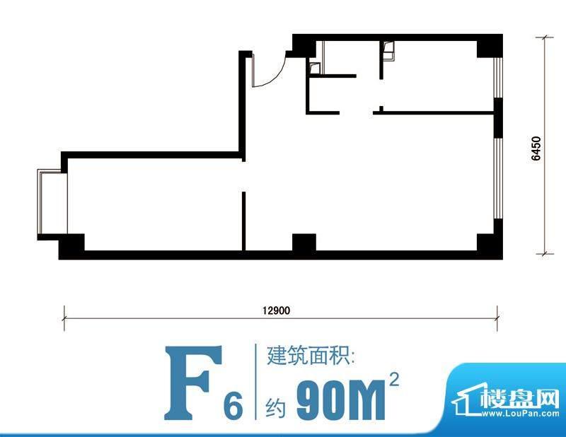 马可汇F6-cs2-01户型图 2室1厅面积:90.00平米