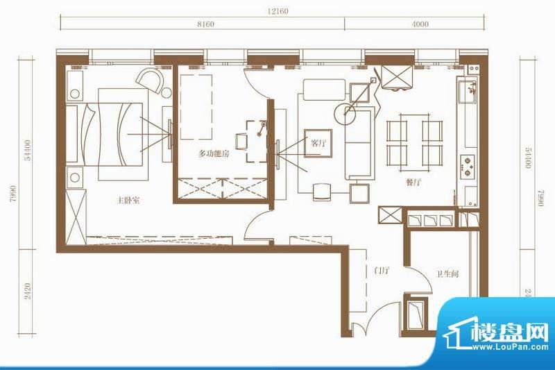 北京ONE3号楼C户型 2室1厅1卫1面积:98.70平米
