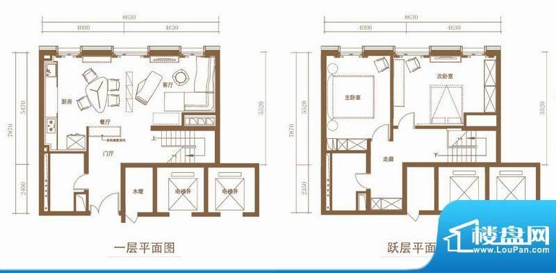 北京ONE1/3号楼B户型 2室2厅2卫面积:147.07平米