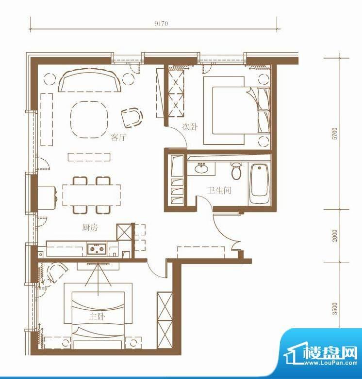 北京ONE1/3号楼A户型 2室2厅1卫面积:113.15平米