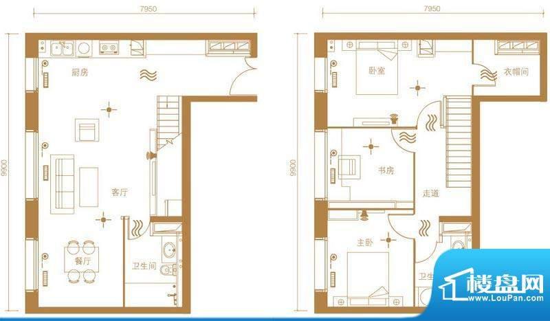 北京ONE1号楼C户型 3室2厅2卫1面积:240.00平米