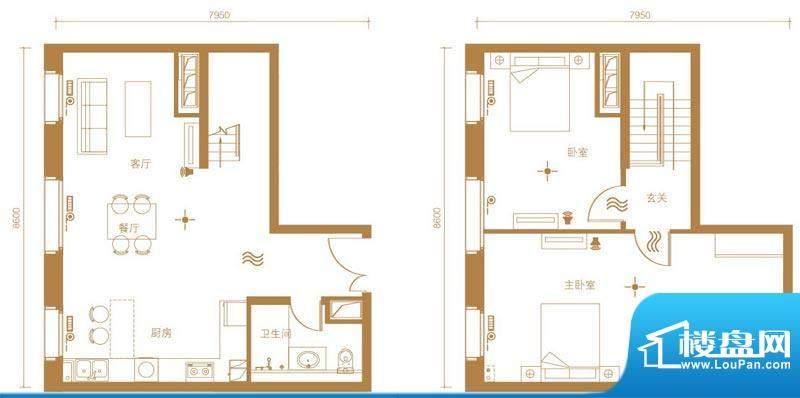 北京ONE1号楼B户型 2室2厅2卫1面积:240.00平米
