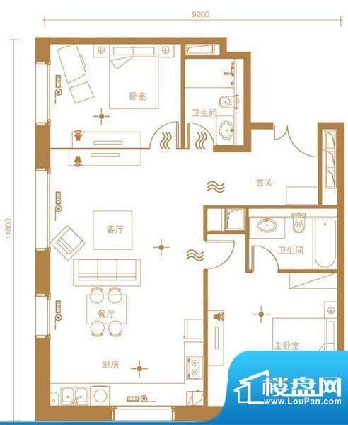 北京ONE1号楼D户型 2室2厅2卫1面积:115.00平米