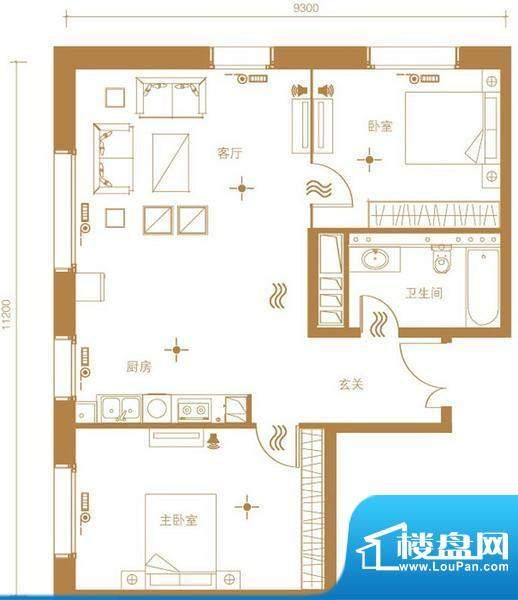北京ONE1号楼A户型 2室1厅1卫1面积:115.00平米