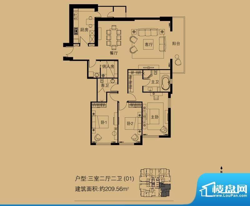 世茂宫园三居户型图 3室2厅2卫面积:209.56平米