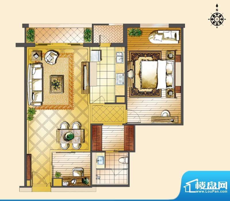 世茂宫园一居户型图 1室2厅1卫面积:105.54平米