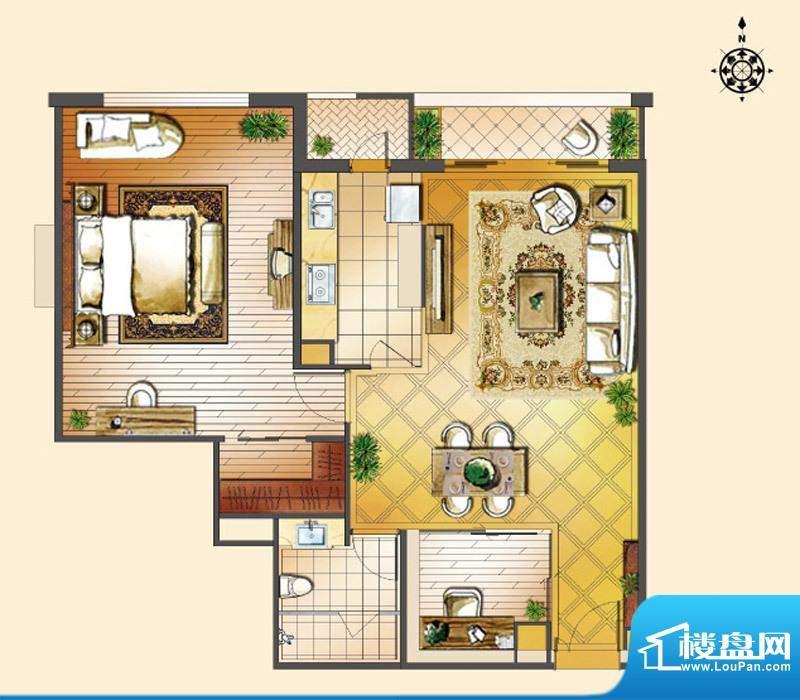 世茂宫园一居户型图 1室2厅1卫面积:114.42平米