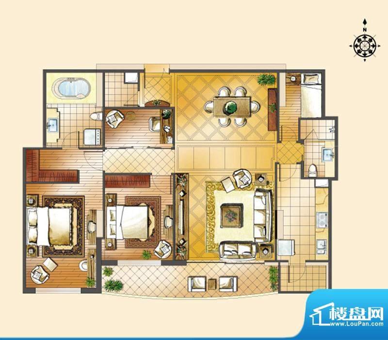 世茂宫园二居户型图 2室2厅2卫面积:173.75平米