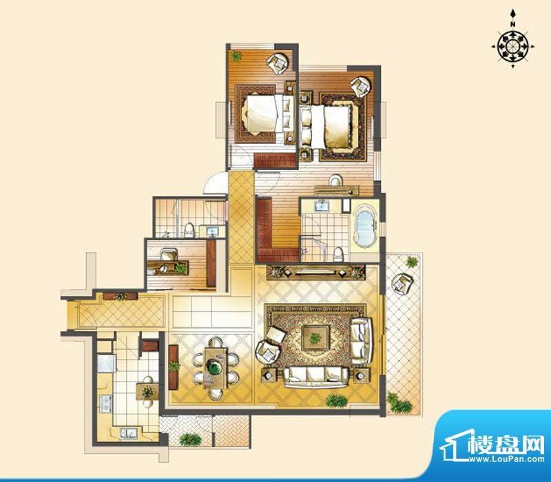 世茂宫园二居户型图 2室2厅2卫面积:185.52平米