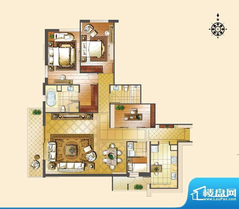 世茂宫园二居户型图 2室2厅2卫面积:198.41平米