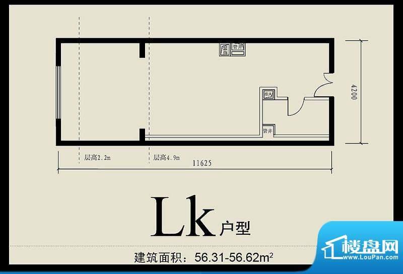 首城双景lk户型 1室1卫1厨面积:56.31平米