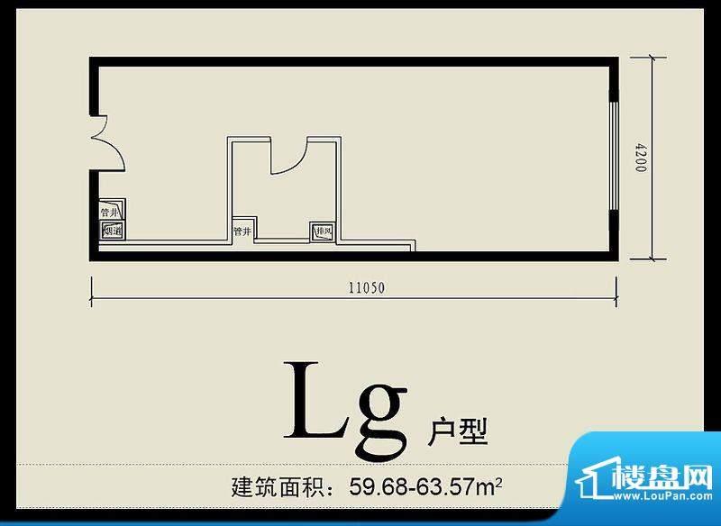 首城双景lg户型 面积:59.68平米