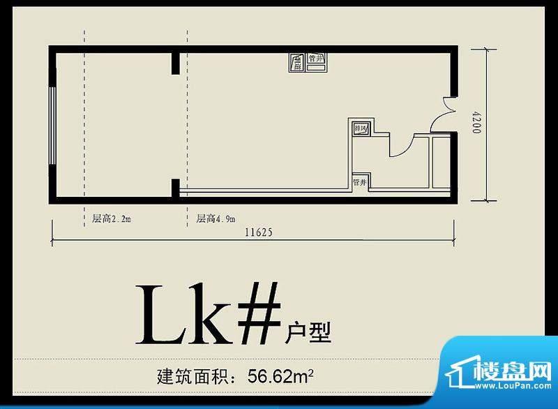 首城双景lk#户型 面积:56.62平米