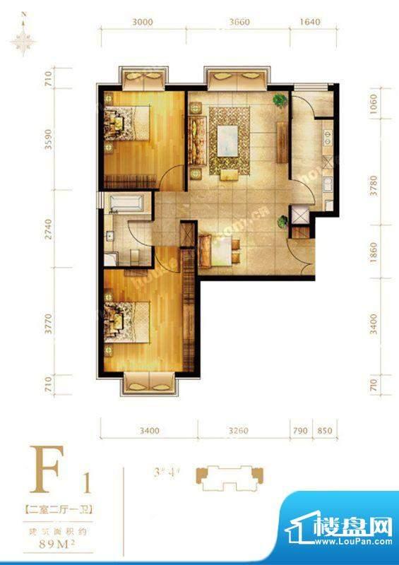第三区·观邸F1户型图 2室2厅1面积:89.00平米