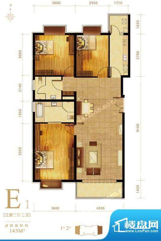 第三区·观邸E1户型图 3室2厅2面积:143.00平米