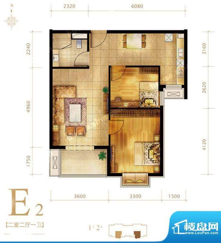 第三区·观邸E2户型图 2室2厅1面积:86.00平米
