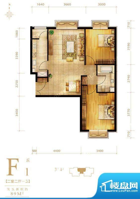 第三区·观邸F1反户型图 2室2厅面积:89.00平米