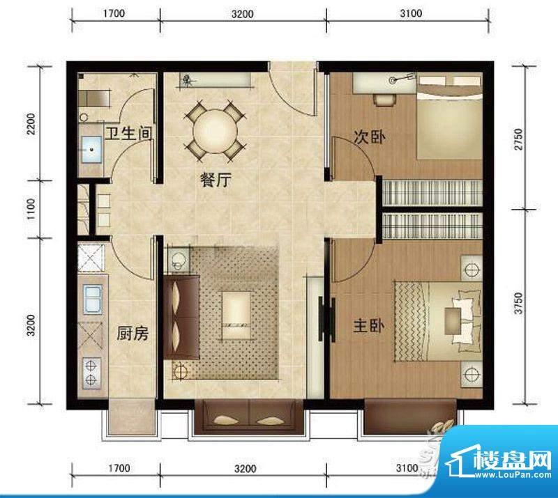 第三区·观邸A2户型图 2室2厅1面积:69.00平米