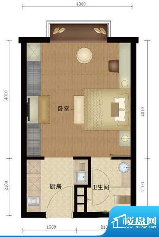 第三区·观邸A1户型图 1室1厅1面积:34.00平米