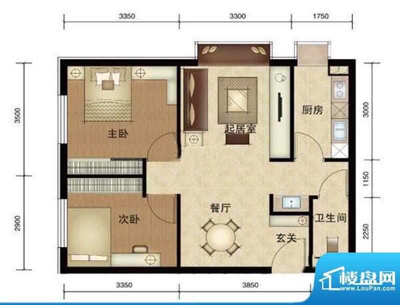 第三区·观邸A3户型图 2室2厅1面积:72.00平米