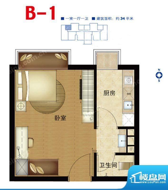 第三区·观邸B1户型图 1室1厅1面积:34.00平米