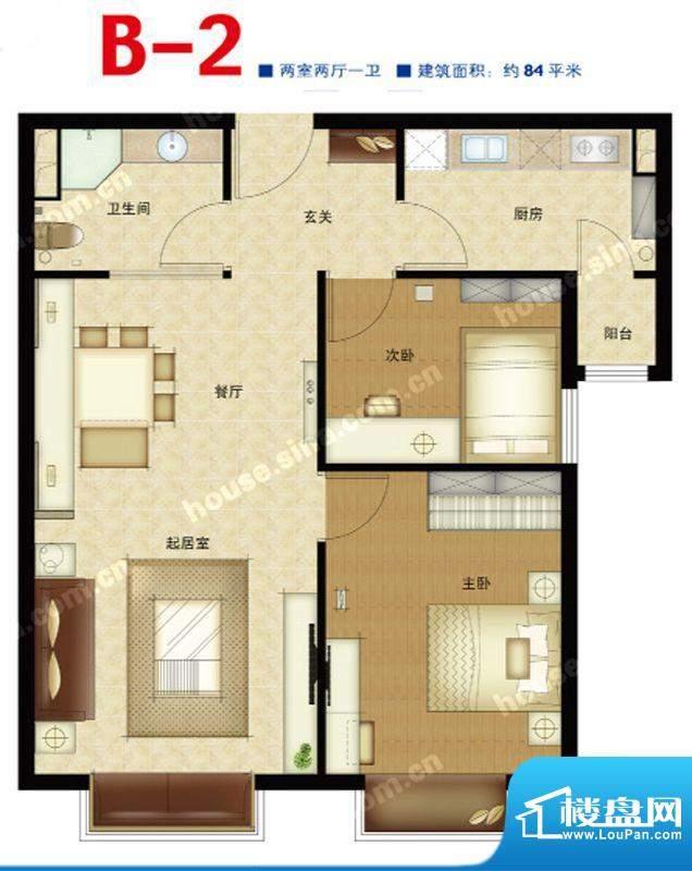 第三区·观邸B2户型图 2室2厅1面积:84.00平米