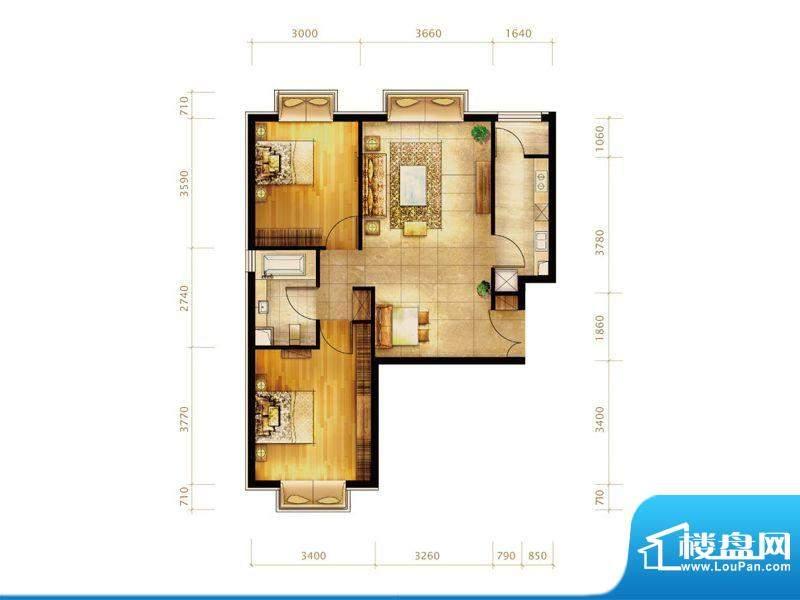 第三区·观邸F1户型 2室2厅1卫面积:89.00平米