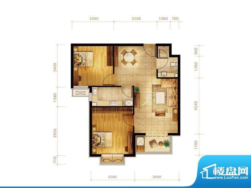 第三区·观邸F2户型 2室2厅1卫面积:88.00平米