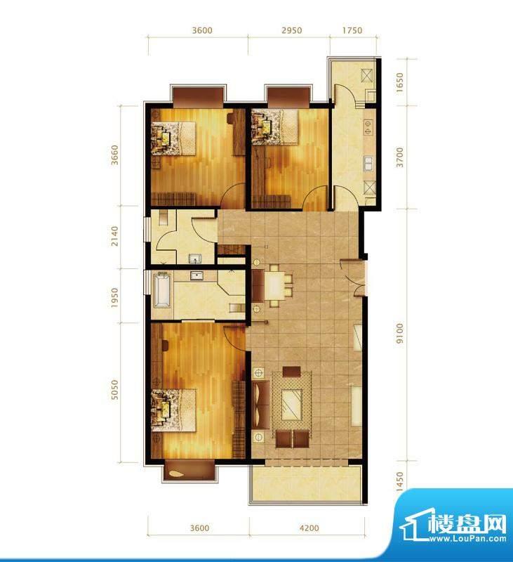 第三区·观邸E1户型 3室2厅2卫面积:143.00平米