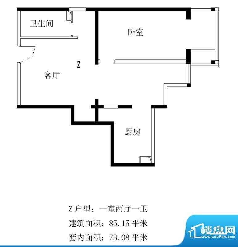 铂晶豪庭Z户型 1室2厅1卫1厨面积:85.15平米