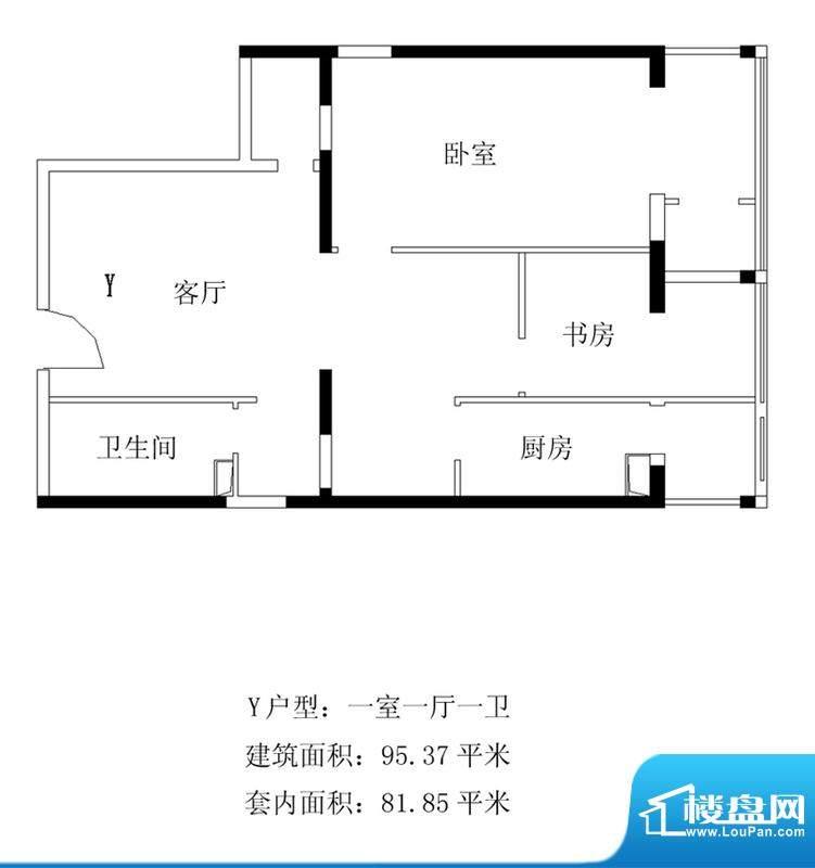 铂晶豪庭Y户型 1室1厅1卫1厨面积:95.37平米