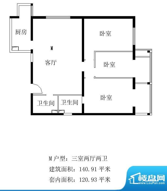 铂晶豪庭M户型 3室2厅2卫1厨面积:140.91平米