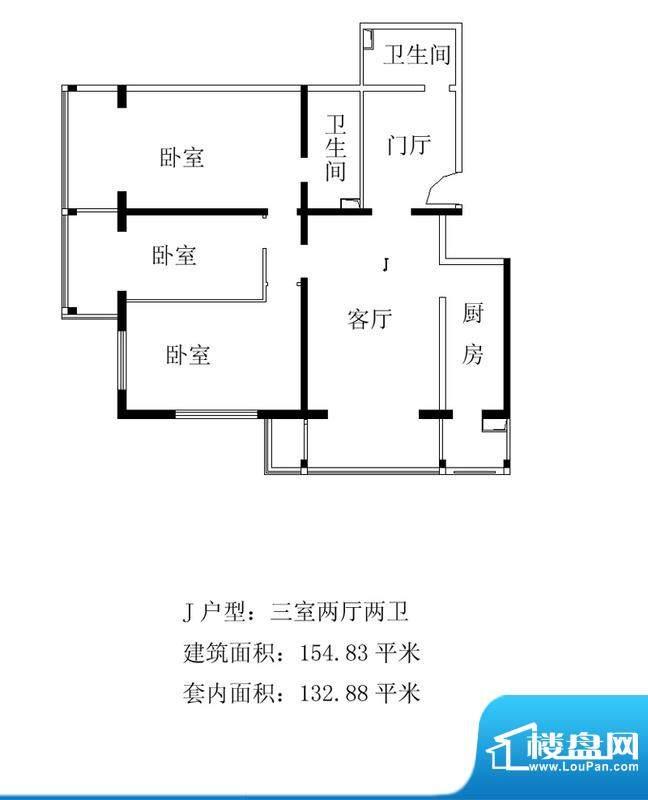 铂晶豪庭J户型 3室2厅2卫1厨面积:154.83平米