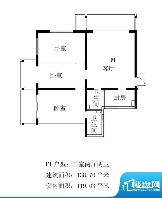 铂晶豪庭F1户型 3室2厅2卫1厨面积:138.70平米
