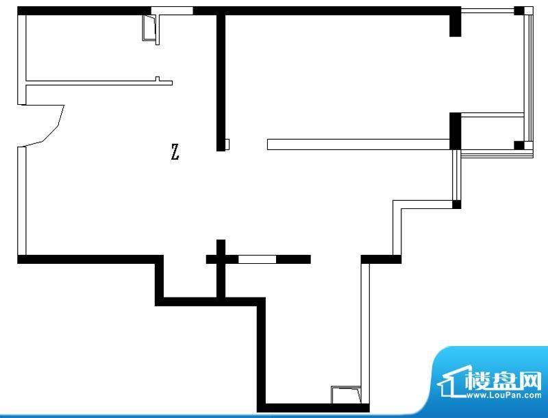 铂晶豪庭Z户型 1室2厅1卫1厨面积:85.00平米