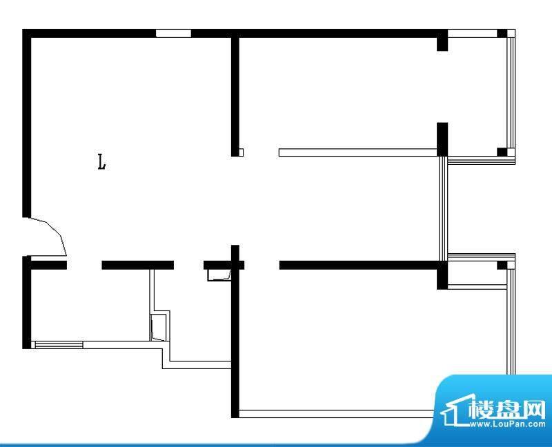 铂晶豪庭L户型 2室2厅1卫1厨面积:119.00平米