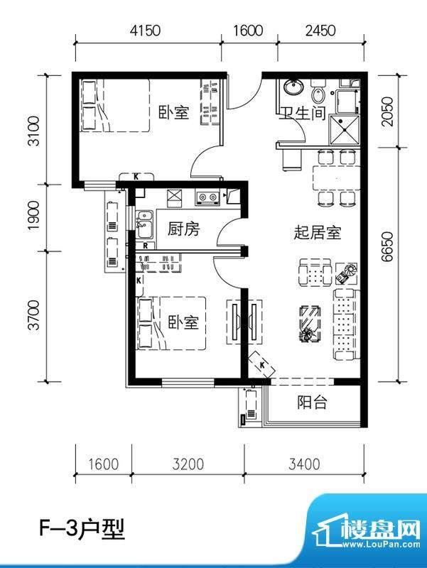 金隅景和园F3户型 2室1厅1卫1厨面积:87.00平米