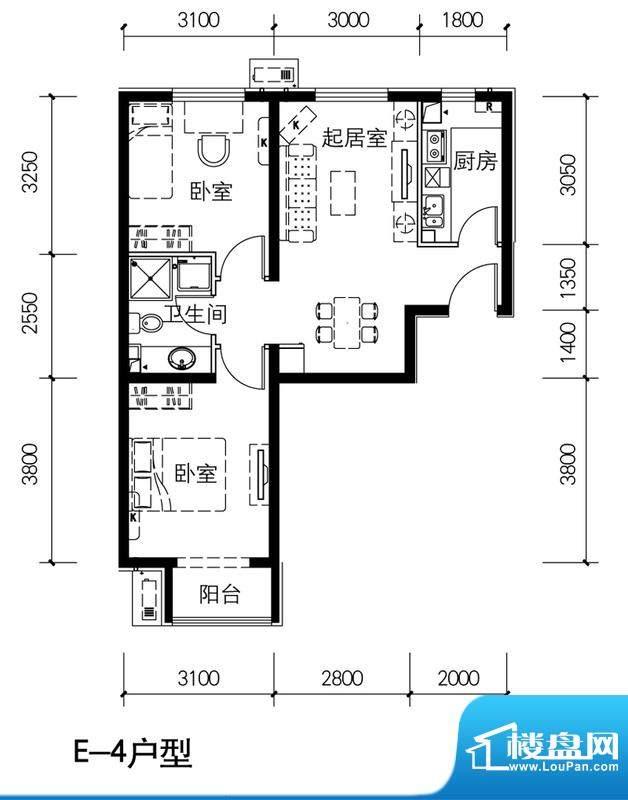 金隅景和园E4户型 2室1厅1卫1厨面积:77.00平米