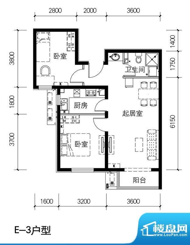 金隅景和园E3户型 2室1厅1卫1厨面积:85.00平米