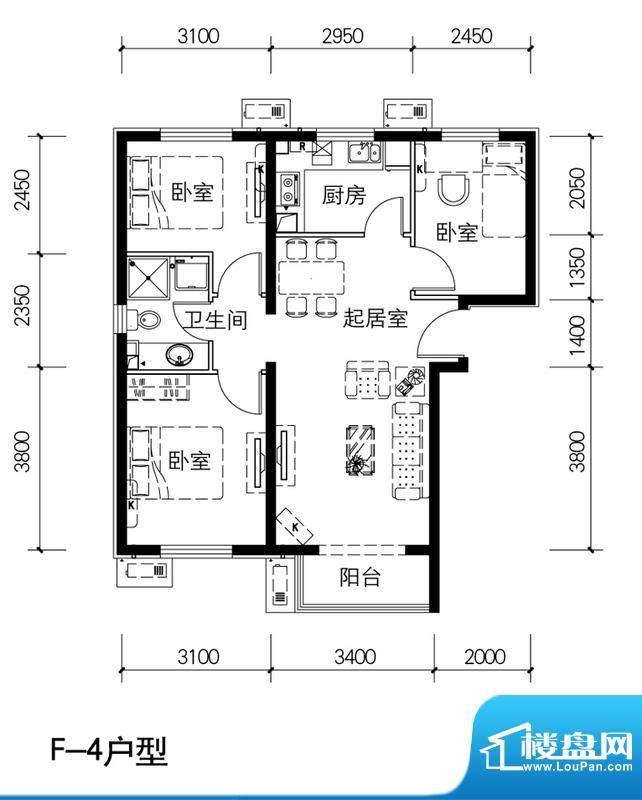 金隅景和园F4户型 3室1厅1卫1厨面积:89.00平米