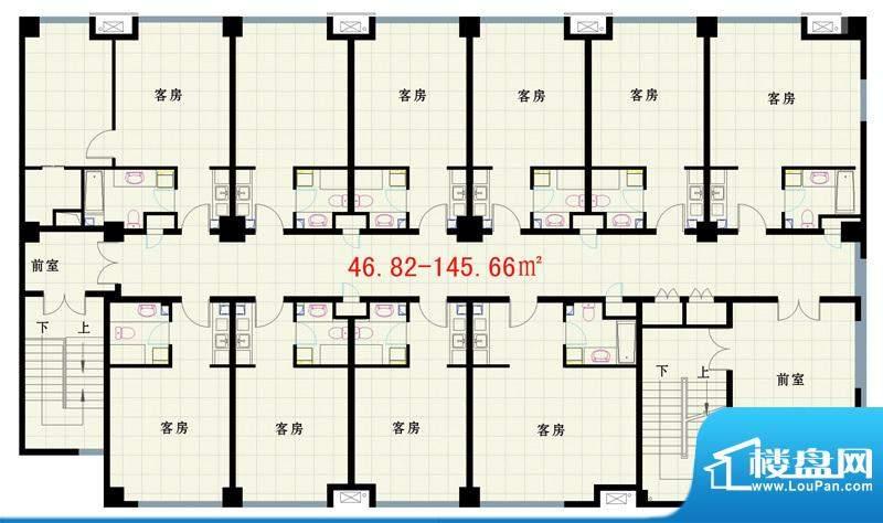 西路时代大厦商务办公户型图 1面积:145.00平米