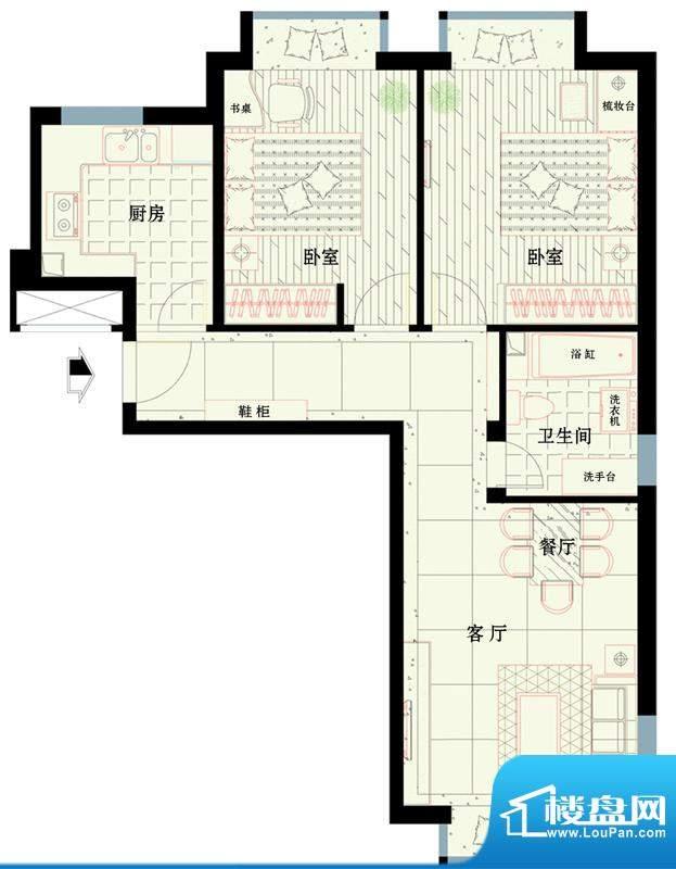 西路时代大厦A户型图 2室1厅1卫面积:79.34平米